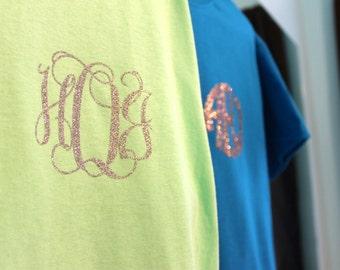 Small Glitter Iron On Monogram Decal // Iron On Sticker // t-shirt monogram // Monogrammed t shirt // tee shirt decal // glitter iron on