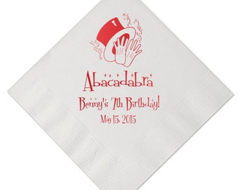 100 Personalized Napkins Magic Theme Birthday Napkins Magic Magician Hat Custom Printed Monogram Luncheon Beverage Dinner Guest Towels