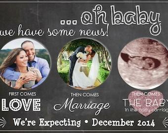 Digital Pregnancy Announcement, Chalkboard Announcement, Ultrasound, Facebook Pregnancy Announcement, Personalized Pregnancy Announcement