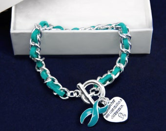 Leather Rope Teal Ribbon Bracelet (RE-B-04-3)