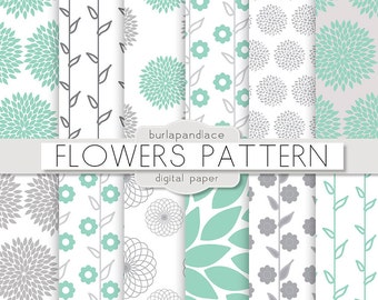 Digital paper Gray and Mint, yellow flowers, mum flower, dahlia flower pattern, floral pattern, flower paper