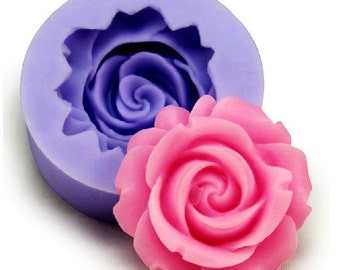1-Cavity Big Rose Flower Silicone Polymer Clay mold Resin mold Clay mold  Flexible Silicone Mould