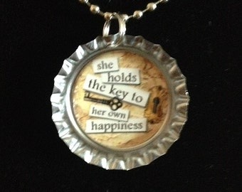 """Vintage Quote - """"She holds the key to her own happiness"""" - Bottlecap Necklace"""