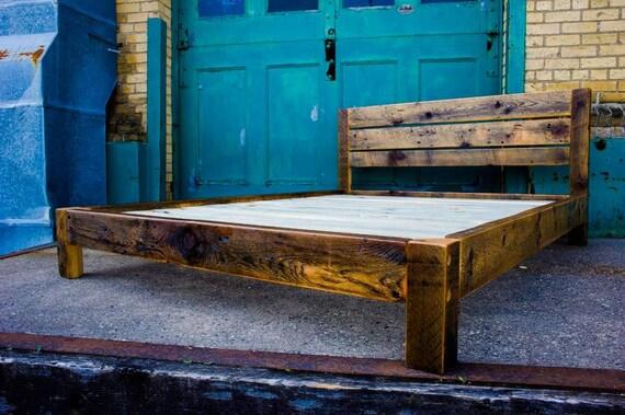 Reclaimed Wood Modern Platform Bed - Queen - Scandinavian Inspired ...