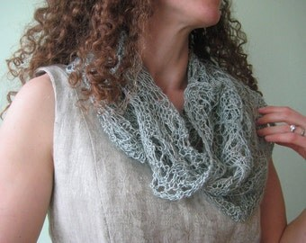 silk infinity scarf, capelet, cowl, seaglass green blue