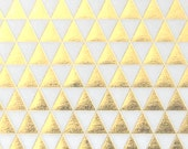 3 SHEETS - Geometric Gold Foil Tiny Triangle Pattern on Vellum Paper