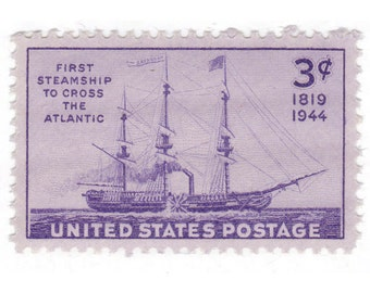 10 Unused Vintage US Postage Stamps - 1944 3c Steamship Savannah - Item No. 923