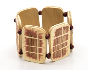"""Wooden bracelet. 2-in-1 Reversible. Reclaimed wood. Recycled. Eco friendly. Wood jewelry. Elastic bracelet. Stretch. Size: 6 11/16"""" (17 cm)"""