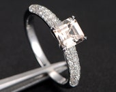 Asscher Cut Morganite Engagement Ring in 14K White Gold - Morganite and Diamond Ring, 14k Rose Gold Yellow Gold Alternative
