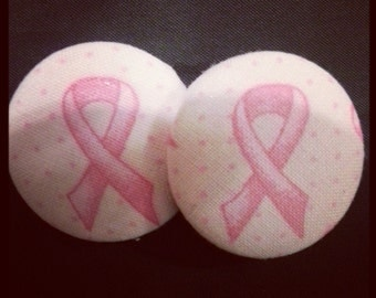 Breast Cancer Button Earrings