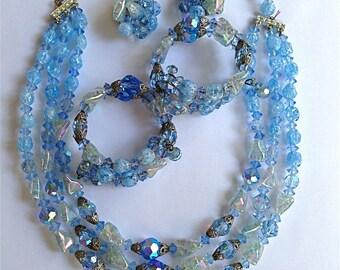 Sale: Vintage Blue Crystal Parure
