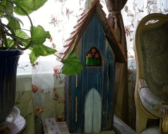 Cedar Handcrafted Butterfly House Rustic Primitive Folk Art Country Decor