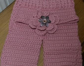 CLEARANCE/Newborn Blush Pink Baby Girl Crochet Headband and Pants Set/ Photo Prop/Baby Gift