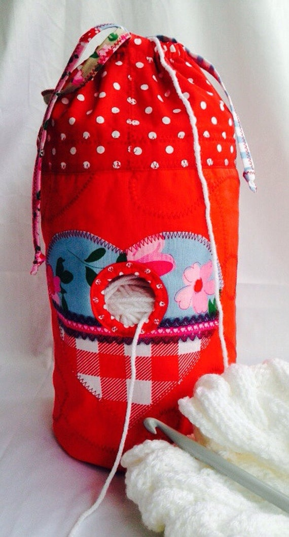 QUILTED VINTAGE HEART Knitting bag wool yarn holder needle