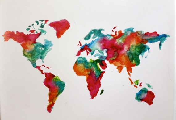 Watercolor world map etsy olivero watercolor world map print gumiabroncs Image collections