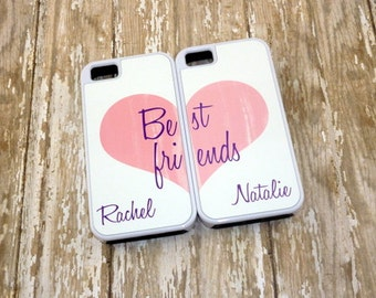 Two Personalized Iphone cases - Best Friends Iphone 4/4s - Pink heart phone case - Iphone 5/5s/5c- Birthday gift - Design 05