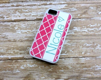 Monogram Hot pink and teal-trellis-quatrefoil-Choose Color-Iphone 4/4s/5/5c Iphone 6-Samsung Galaxy - Personalized phone case