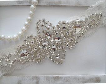 Wedding Garter, Bridal Garter, Vintage Wedding, Crystal Garter- Style 100A