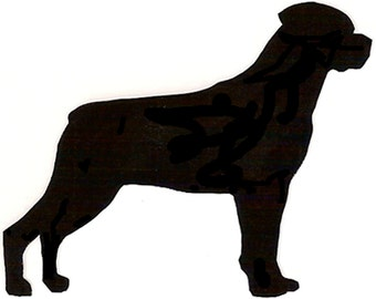 Metal Rottweiler Yard Stake Sign - Garden Decoration - Indoor/Outdoor Planter Decor