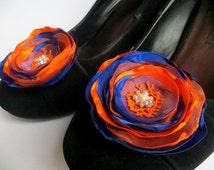 Royal blue, orange wedding shoe clips (set of 2), bridal shoe clips, orange shoe clips, royal shoe clips, royal wedding,READY TO SHIP