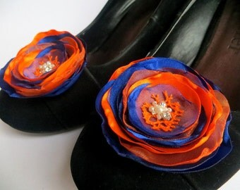 Royal blue, orange wedding shoe clips (set of 2), bridal shoe clips, orange shoe clips, royal shoe clips, royal wedding,READY TO SHIP