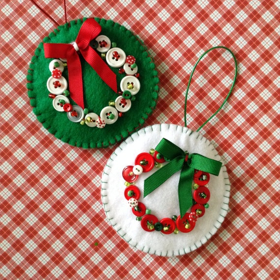 Navidad fieltro ornamentos juego de 2 hecho a mano fieltro - Ornamentos de navidad ...