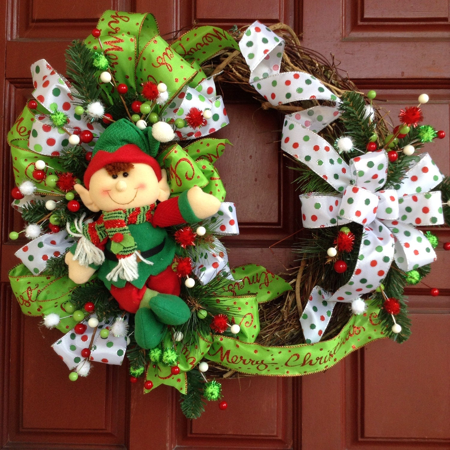 Elf christmas door decor christmas wreath christmas elf for Elf door decoration