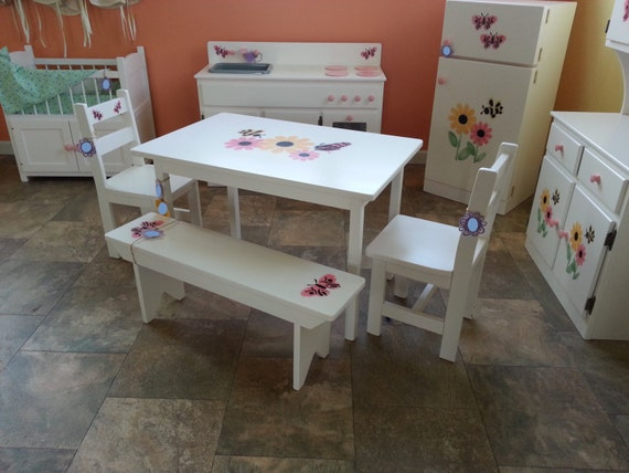 Items similar to wooden desk chair that girls doll for Child size kitchen sets