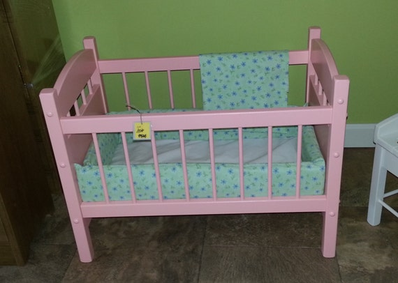 Items Similar To Wooden Doll Crib Bed Toy Furniture American Reborn Baby Prop Amish Made Folk