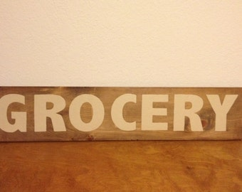 Rustic Wooden Grocery Sign