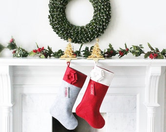 SET of 2 PERSONALIZED Wool Felt Christmas Stockings, Unique Felt Stocking SET, Gifts for Him, Gifts for Her, Beautiful!