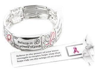 INSPIRATIONAL, Inscribed-Breast Cancer Awareness, Pink Ribbon Bracelet