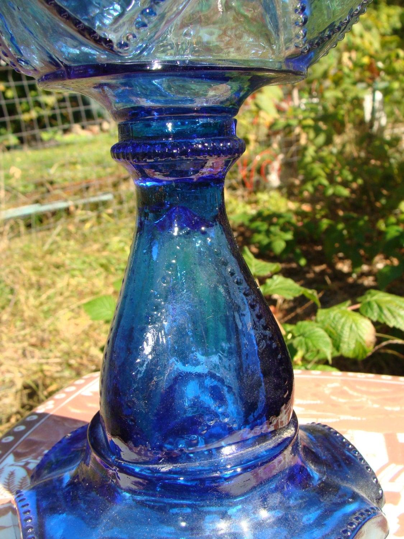 Antique Oil Lamp Cobalt Blue Beaded Heart Sweetheart