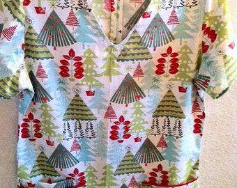 ON SALE - Bright Christmas Trees  Scrub
