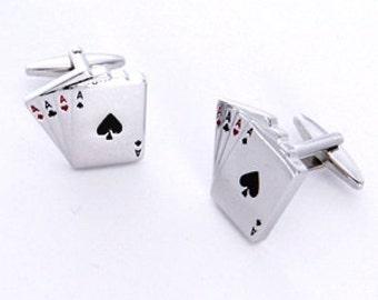 Personalized Cufflinks - Personalized Aces Poker Cufflinks - Heart Locket Cufflinks