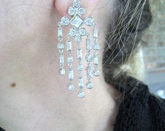 Ladies Cubic Zirconia Dangling Earrings