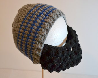 Gray Striped Child Beard Beanie, Boys Winter Hat, Grey with Blue Stripe, Choose your beard color