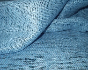 """Baby Blue Linen Burlap Fabric Decorator - Medium weight - 39"""" W - ECO-friendly - Sold By The Yard"""