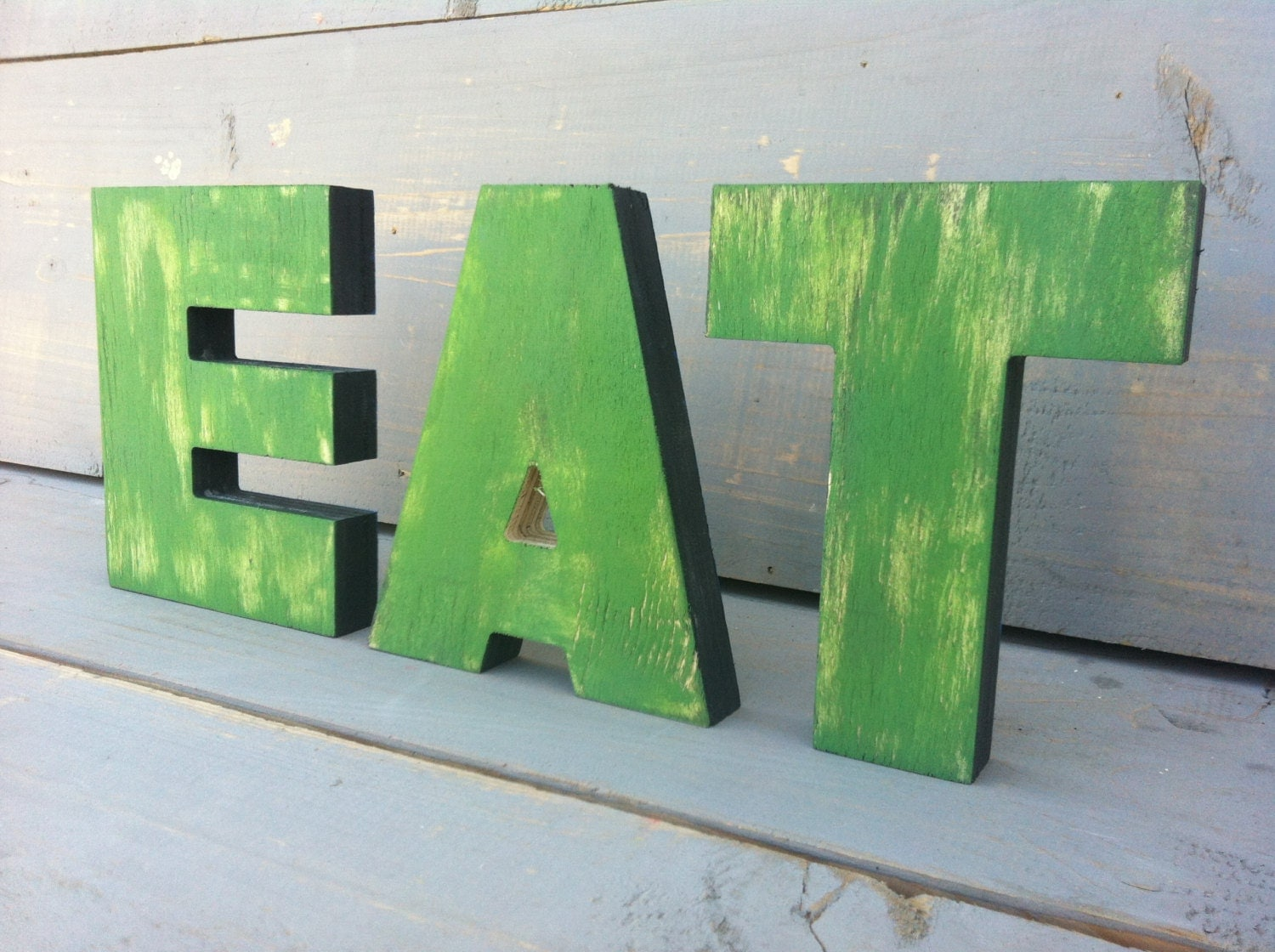 Kitchen rustic wall decor wooden letters eat 2 words by sunfla for Kitchen letters decoration