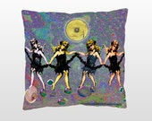 """Four dark angels By Carolyn Furin 16"""" X 16"""" Pillow with Black or Ivory backing"""