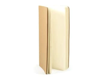 KRAFT BLANK NOTEBOOK - 30 Page Kraft Stitched Notebook with Blank White Pages and Stitching (11.2cm x 21cm)