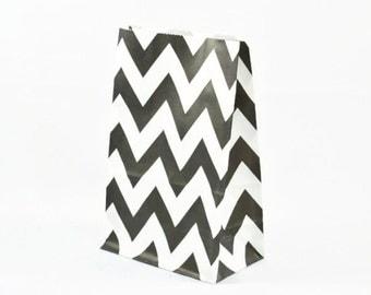 PAPER BAGS (Set of 12 Stand Up Bags) - Black Chevron (20cm x 12.5cm)