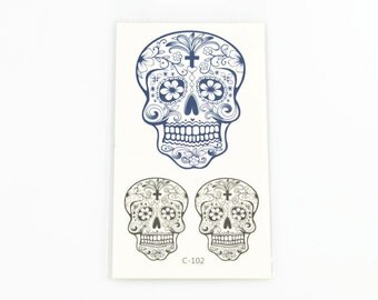SKULLS TEMPORARY TATTOOS  (Set of 3 Temporary Tattoos) - Day of the Dead Sugar Skulls Temporary Tattoos (10.5cm x 6cm)
