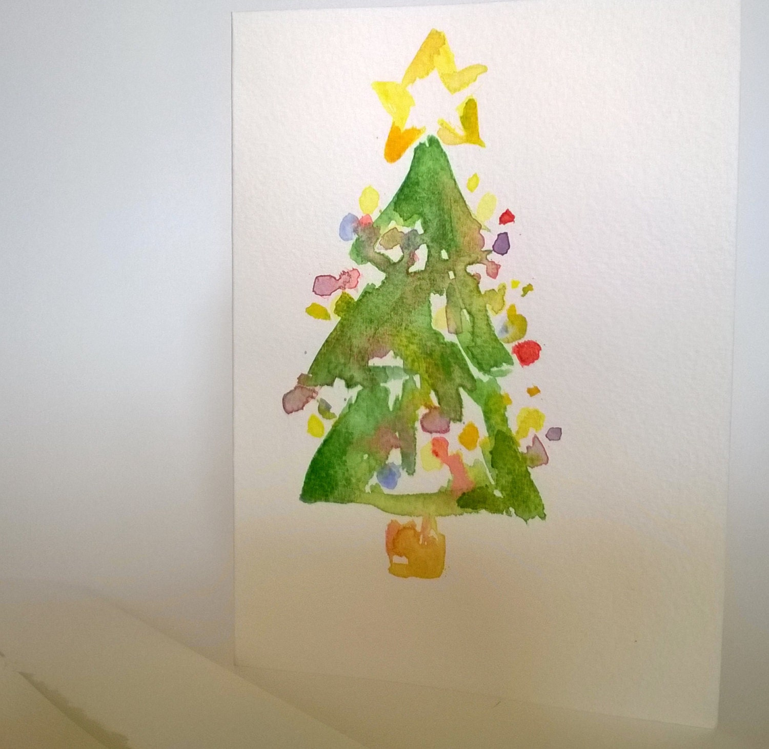 Set of three hand painted christmas cards by for Painted christmas cards