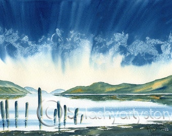 LOCH NESS Art Print Of Original Watercolour Painting from Scottish Artist.