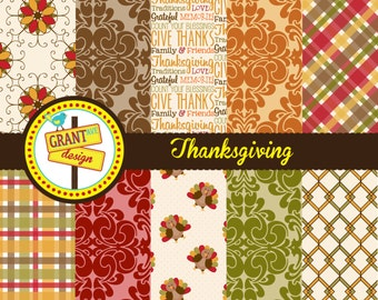 Thanksgiving Digital Paper - Printable Digital Papers - Backgrounds for Invitations, Card Design, Scrapbooking, and Web Design