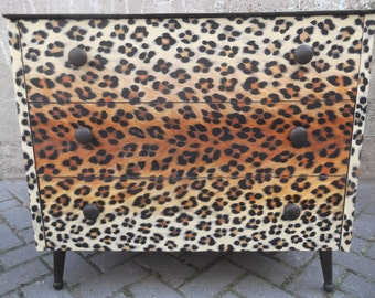 SOLD**Mid Century 3 Drawer Chest reworked in leopard print.
