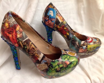 Superhero comic and rhinestone heels