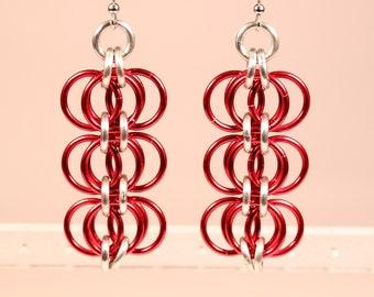 Triple Red Earrings Chainmaille Earrings Chainmail Jewelry Multicolor Earrings