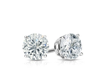 14k Gold 4-Prong Basket Round Diamond Stud Earrings 0.50 ct. tw. (G-H, SI2)